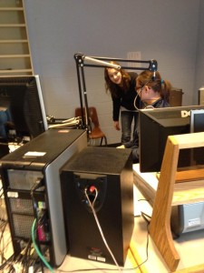 Angela and Birdy filming a scene in the Production Studio.