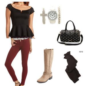 Maroon skinny, Peplum shirt, tall boots