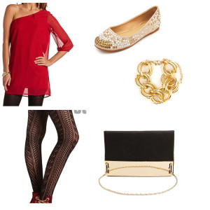 Red, one shoulder dress, tights, champagne flats