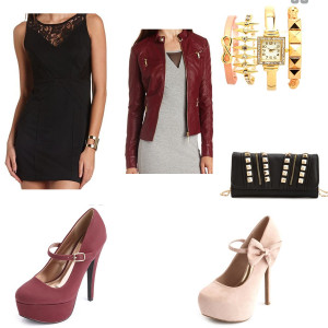 Black dress, deep red jacket, either pair of heels