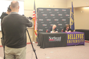 Northeast's Dr. Michael Chipps and Bellevue's Dr. Mary Hawkins sign agreement