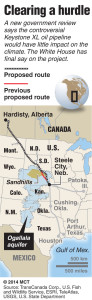 Proposed route and previous proposed route for the controversial Keystone XL pipeline