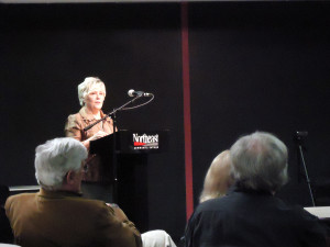 Karen Wingett reading her poetry